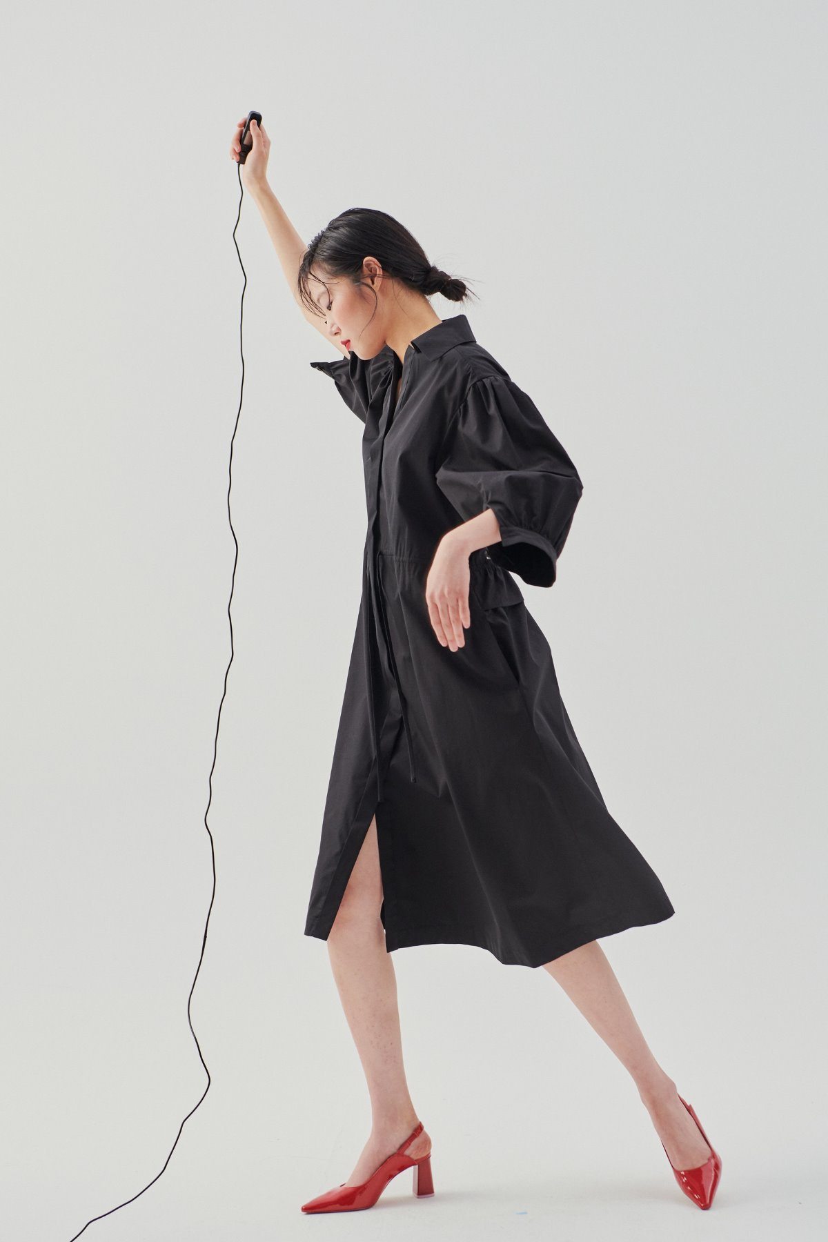 Puffed Sleeve Shirt Dress Black
