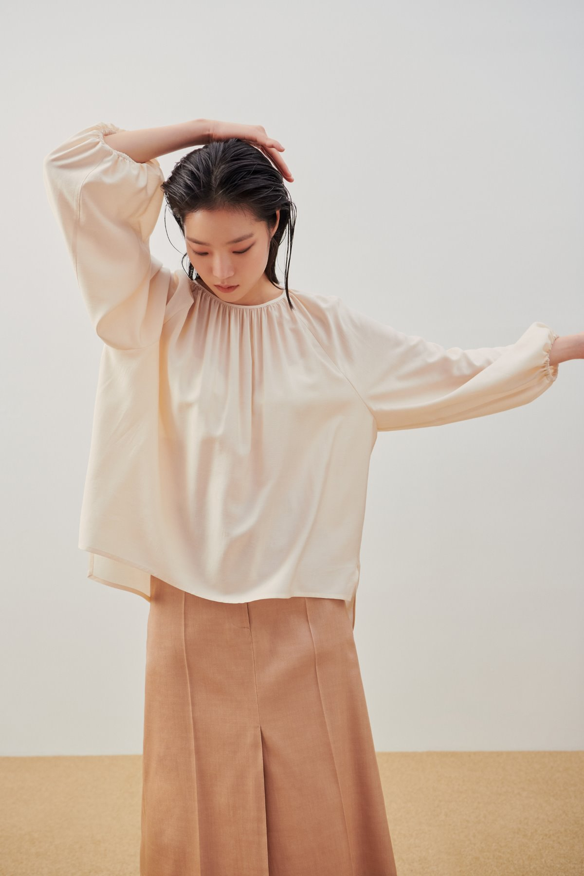Puff Sleeve Shirring Blouse Nude Beige