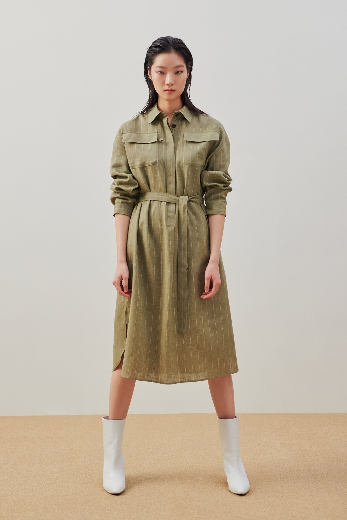Stripped Linen Long Shirt Dress Khaki