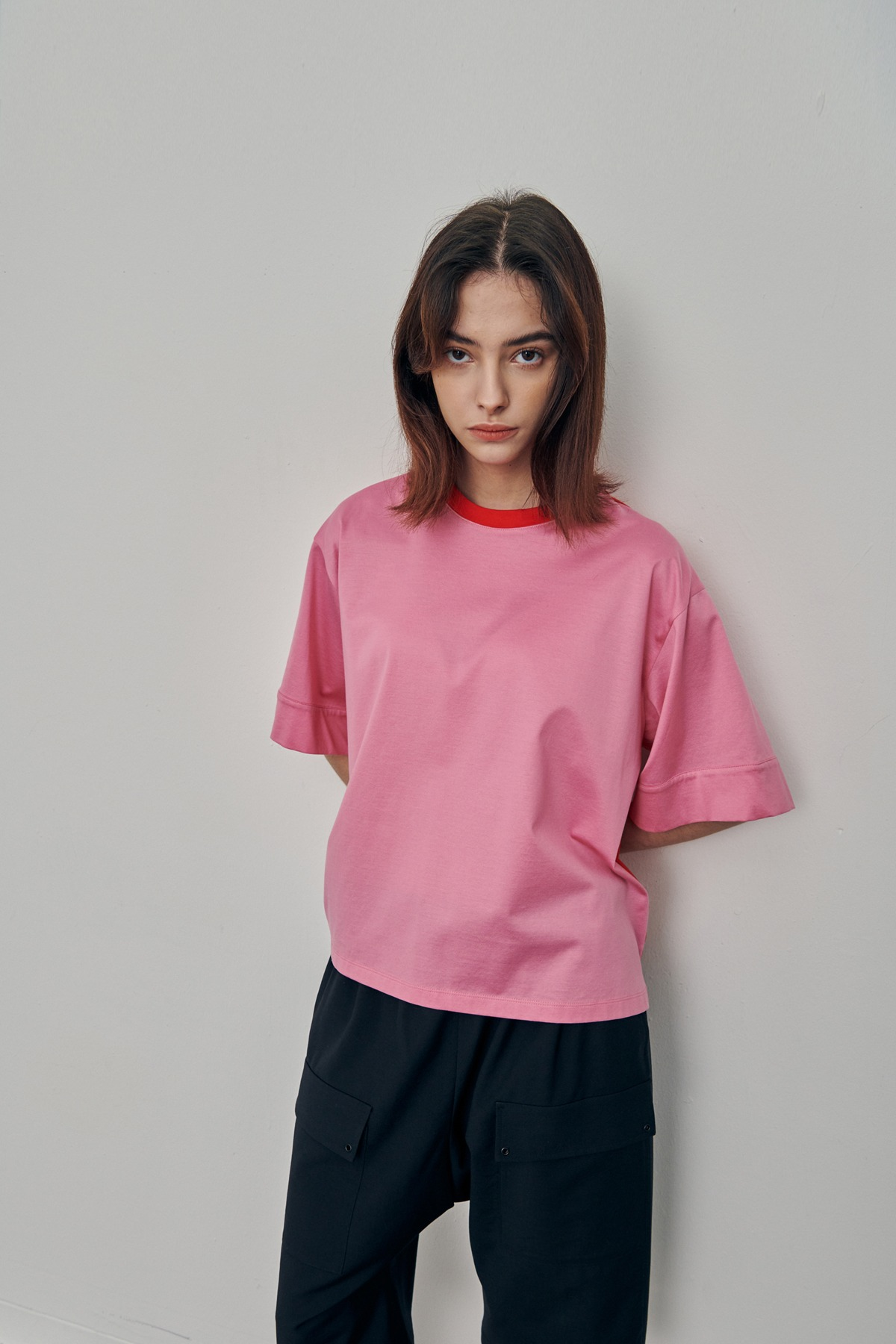 [예약배송 5/10]Silket Cotton Jersey T-Shirt Pink