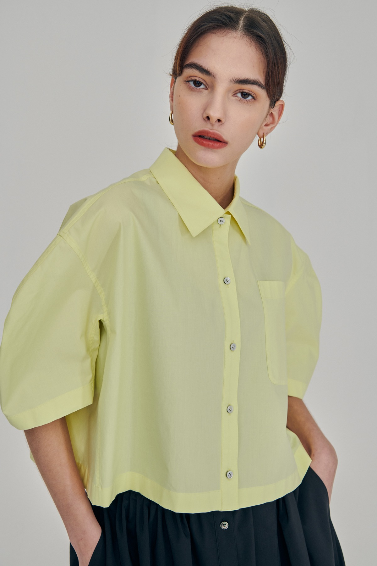 Volumed Sleeves Cotton Cropped Shirts Lemon