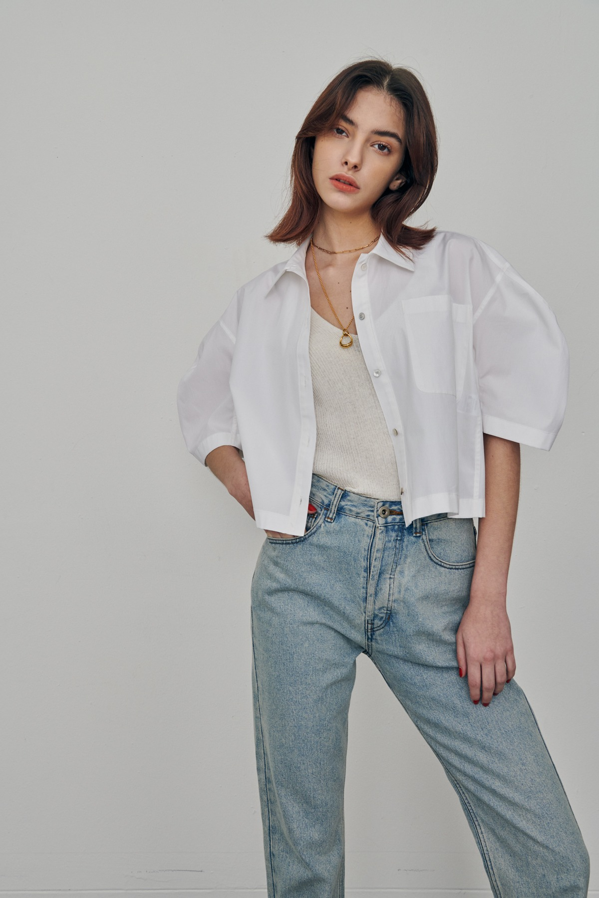 Volumed Sleeves Cotton Cropped Shirts White