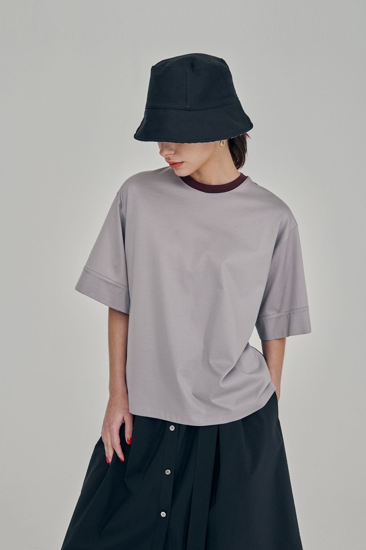 [예약배송 5/10]Silket Cotton Jersey T-Shirt Grey